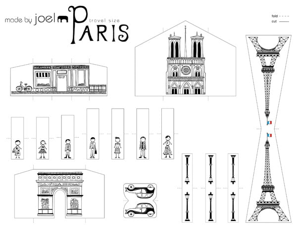 Travel Size Paper City Paris Template, Copyright Made by Joel