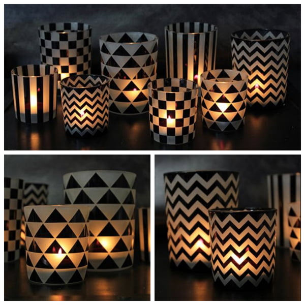 Black and white tea lights by Rockett St. George