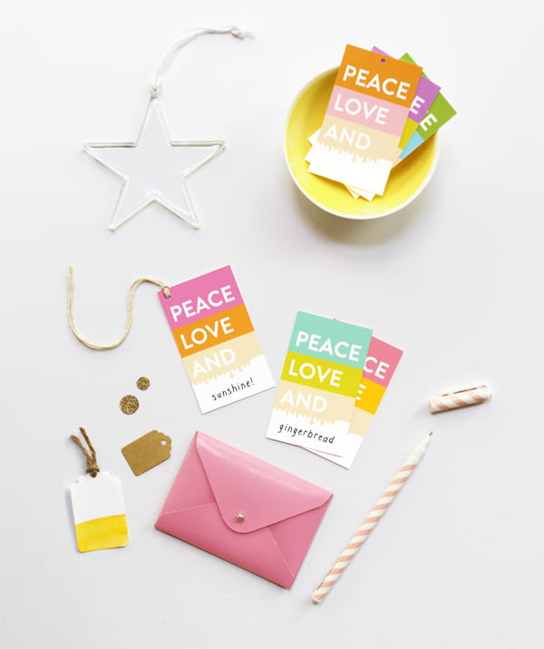 Peace Love and Gift Tags, Copyright Eat Drink Chic