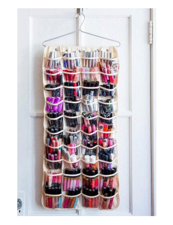 Shoe Rack Storage for Make-Up, Image via Bustle/Lovelace Media)
