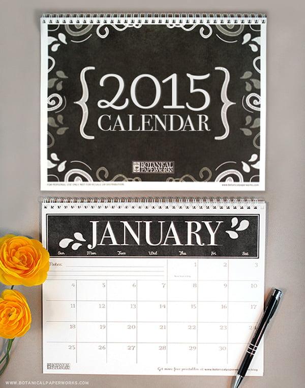 Botanical Paperworks 2015 calendar, Image Copyright Botanical Paperworks
