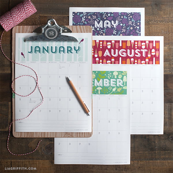 Free Printable Calendar 2015, Copyright Lia Griffith