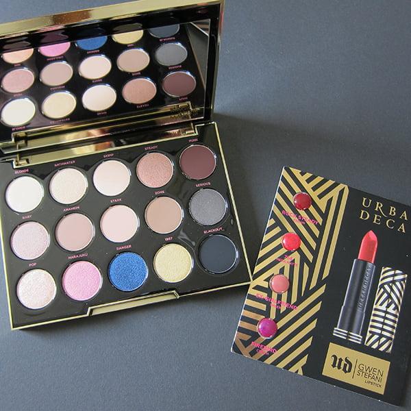 Urban Decay Gwen Stefani Eyeshadow Palette with UD Gwen Stefani Lipstick Preview, Image by Hey Pretty Beauty Blog